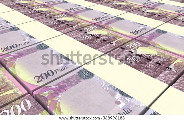 Botswana Pula Bills Stacks Background Computer Stock