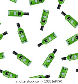 Bottle of absinthe. Absinthe alcohol drink. Seamless Repeat Pattern Background. illustration in flat style Raster version.