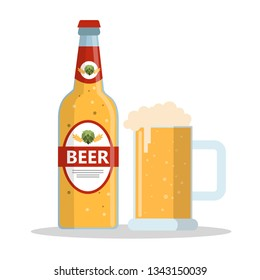 Bottle of beer and glass mug with foam. Alcohol drink. Isolated flat illustration