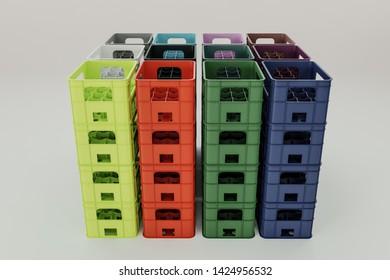 bottle crates isolated on white background 3d illustration