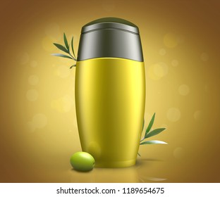 Bottle of cream with olive oil extract, 3D illustration