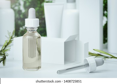 Bottle dropper with olive oil. glass container near Olive branch. 3d rendering.
