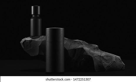 bottle of essential massage oil on stone - beauty treatment. Minimal Black design packaging mock up. 3d illustration.