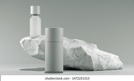 bottle of essential massage oil on stone - beauty treatment. Minimal white design packaging mock up. 3d illustration.