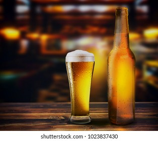 bottle is glass of fresh beer on the table of a brewery, 3d illustration
