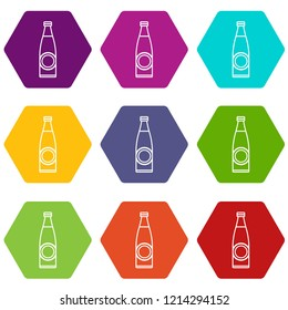 Bottle icons 9 set coloful isolated on white for web