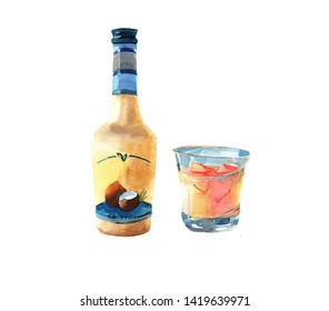 Bottle of liquor. Glass of liquor. coffee beans. Watercolor illustration isolated on white background.