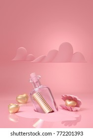Bottle with message of love. Clear glass bottle with luxury stripe gold letter and gold stripe heart in shell on pink background. 3d rendering illustration