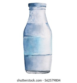 Bottle with milk or yogurt. Isolated on white background. Watercolor illustration.