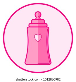 Bottle. Pink baby icon on a white background, line art design.