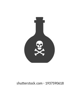 Bottle poison alcohol skull in full face for concept design. Dangerous container. Potion beverage bar drink concept. Alcohol addiction icon. Venom, danger symbol. Isolated flat illustration.