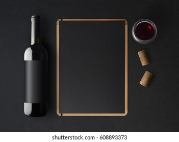 Bottle of red wine with a black label on a dark background, a wine menu template and a glass of wine. Mockup. Top view. 3d illustration.