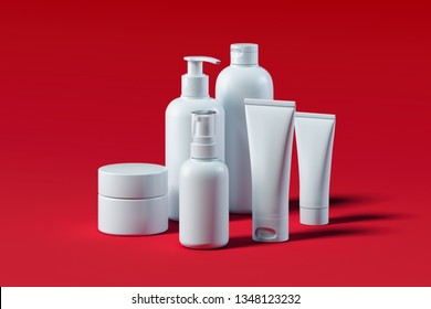 Bottle Set for liquid, cream, gel, lotion. Beauty product package. 3d rendering.