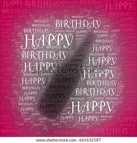 bottle silhouette happy birthday words stock illustration 661632187