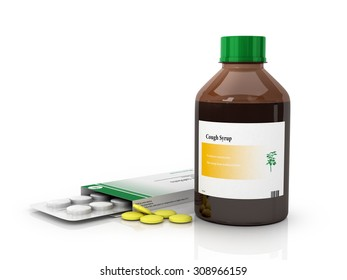 Bottle of syrup and packaging of tablets on a white background