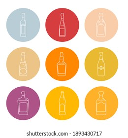 Bottle of vodka, red wine, champagne, whiskey, liquor, beer, tequila, martini, rum in form of thin lines. Isolated object design beverage. Graphic illustration in flat style. Icon for restaurant.