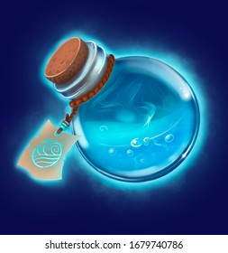 Bottle of water. Game icon of magic elixir. Interface for rpg or match3 game. Water or mana.