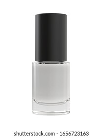 Bottle of White Colorless Nail Polish Isolated on White Background. 3D Render Mock Up.