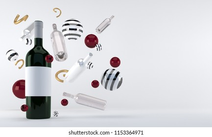Bottle of white wine with bubbles. Abstract geometry background. 3d rendering