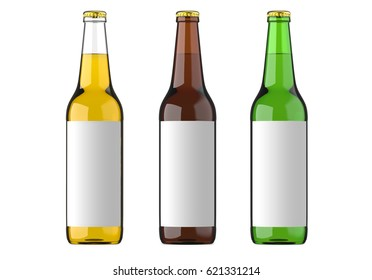 Bottled beer yellow, green and brown colors or beverage or carbonated drinks with white label. Studio 3D render, isolated on white background.