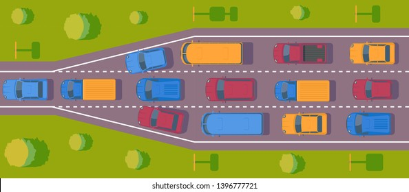 Bottleneck traffic jam. Road dence traffic on motorway or highway. Different car on road.