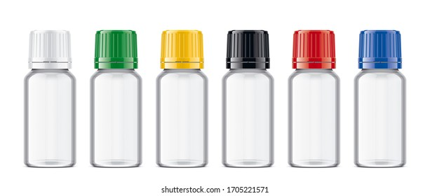 Bottles with colored Caps set. Transparent version. 3d rendering