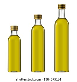 Bottles of extra virgin olive oil in three sizes. Package mock-up
