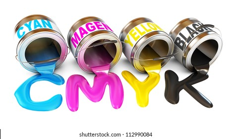 Bottles of ink in cmyk colors. Paint is poured from a can. Isolated on white background. 3d render
