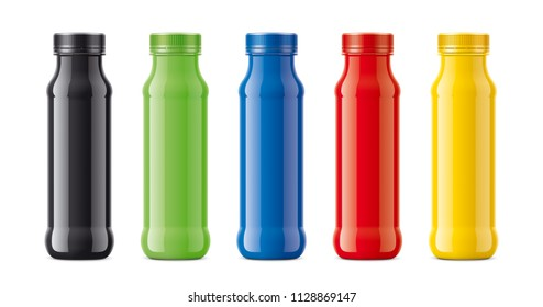 Bottles for juice, dairy drinks and other. Colored, not transparent version. 3d rendering