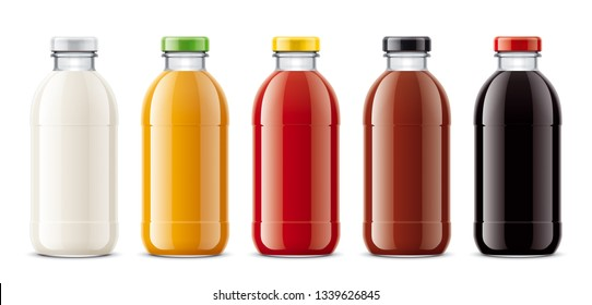 Bottles for juice, dairy drinks and other. 3d rendering