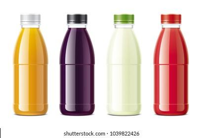 Bottles for juice. Mockups set