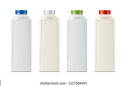 Bottles for milk, dairy and other drinks. 3d rendering