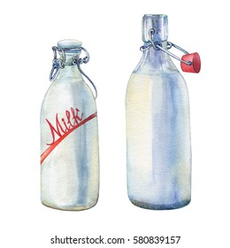 Bottles of milk. Hand drawn watercolor painting on white background.