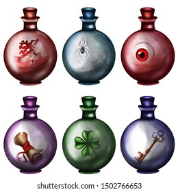 Bottles with potion and items. Game icon of a magic elixir. design for app user interface. Eyes, key, scroll, clover, mushrooms, fly agaric, spider.