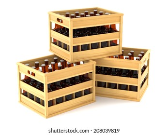 Bottles in wooden crates isolted on white background