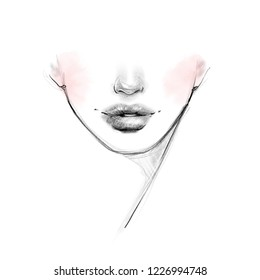 Bottom of the beautiful girl's face black and white romantic fashion illustration. Hand drawn pencil sketch with pink watercolor. Abstract young women's lips art for beauty care banner design.