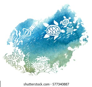 The bottom of the sea. The ocean and marine life. Coral reef, sand, and a fish. Underwater world. Color sketch