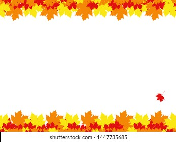 Bottom and top framing of colorful fallen leaves on white background.