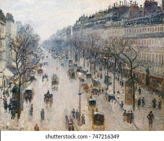 Boulevard Montmartre on Winter Morning, by Camille Pissarro, 1897, French impressionist oil painting. This view of Paris was painted from his rooms at the Grand Hotel de Russie