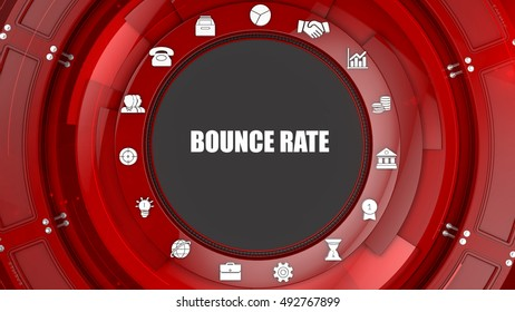 Bounce Rate concept image with business icons and copyspace.