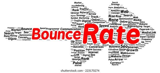 Bounce rate word cloud shape concept
