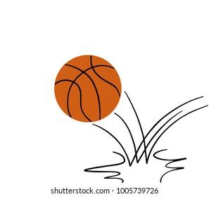 bouncing basketball, digital illustration