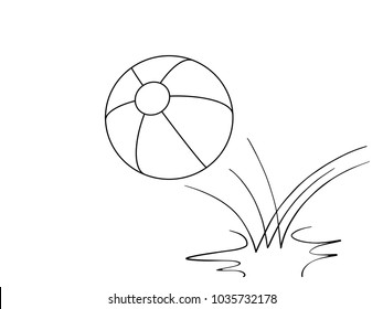 bouncing beach ball line drawing
