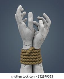 bound stone hands