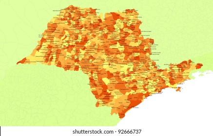 Boundaries of Sao Paulo State - southest Brazil