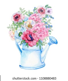 bouquet of anemone and hydrangea flowers in a garden watering can . watercolor hand painting . illustration for postcards. on isolated white background