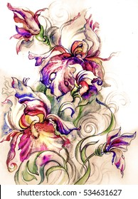 Bouquet of beautiful  fantastic exotic flowers of irises, watercolor with pencil drawing and digital graphics -posters filter- in sketch style