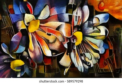 A bouquet of beautiful flowers in a modern style and cubism from Picasso. Executed in oil on canvas with elements of fine art pastel painting. For gift and interior.