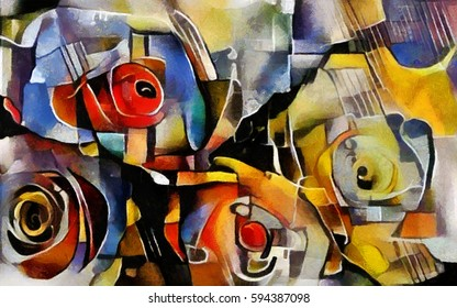 A bouquet of beautiful flowers in a modern style and cubism from Picasso and Kandinsky. Executed in oil on canvas with elements of fine art pastel painting. For gift and interior.