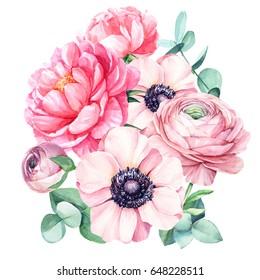 Bouquet of beautiful flowers, watercolor illustration. Peonies, pink anemones, ranunculus